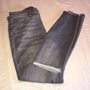 Joes Skinny Jean in Gray. Distressing at the knees
